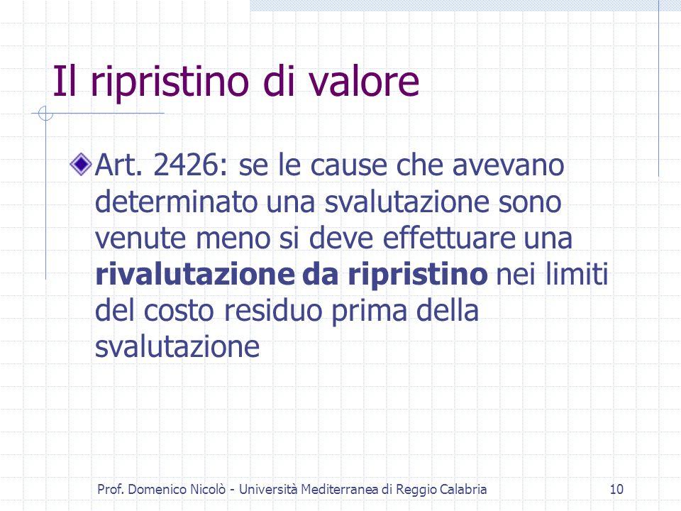 Prof. Domenico Nicolò - Università Mediterranea di Reggio Calabria10 Il ripristino di valore Art. 2426: se le cause che avevano determinato una svalut
