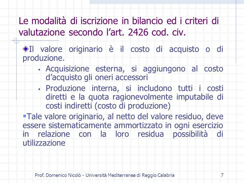 Prof. Domenico Nicolò - Università Mediterranea di Reggio Calabria7 Le modalità di iscrizione in bilancio ed i criteri di valutazione secondo lart. 24