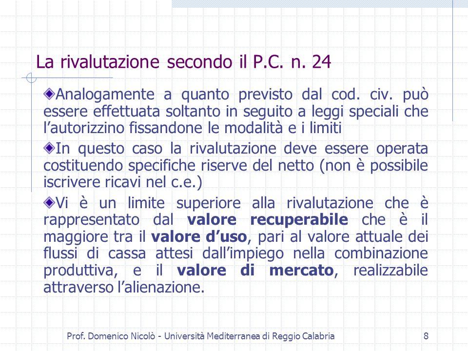 Prof. Domenico Nicolò - Università Mediterranea di Reggio Calabria8 La rivalutazione secondo il P.C. n. 24 Analogamente a quanto previsto dal cod. civ