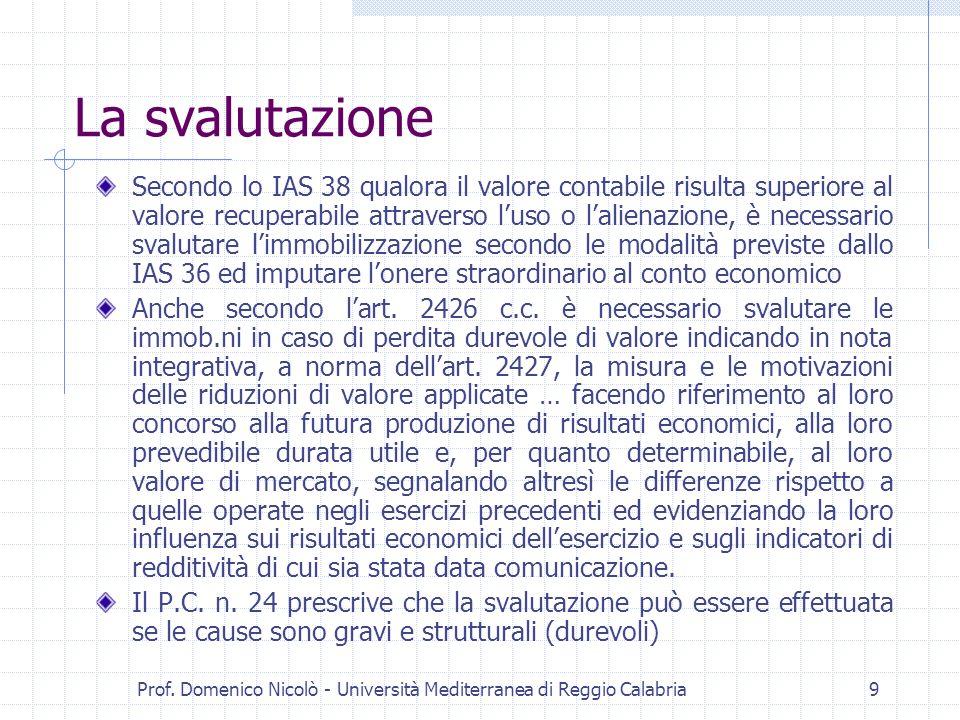 Prof. Domenico Nicolò - Università Mediterranea di Reggio Calabria9 La svalutazione Secondo lo IAS 38 qualora il valore contabile risulta superiore al