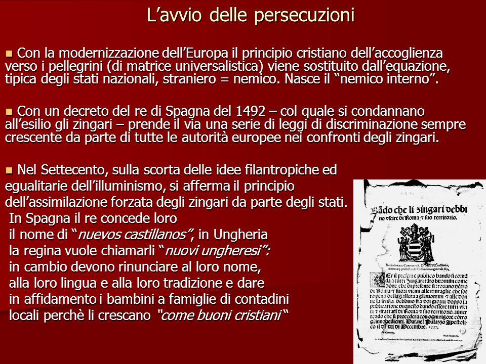Lavvio delle persecuzioni Con la modernizzazione dellEuropa il principio cristiano dellaccoglienza verso i pellegrini (di matrice universalistica) vie