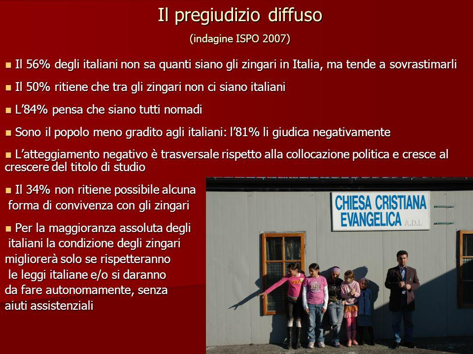 Il pregiudizio diffuso (indagine ISPO 2007) Il 56% degli italiani non sa quanti siano gli zingari in Italia, ma tende a sovrastimarli Il 56% degli ita