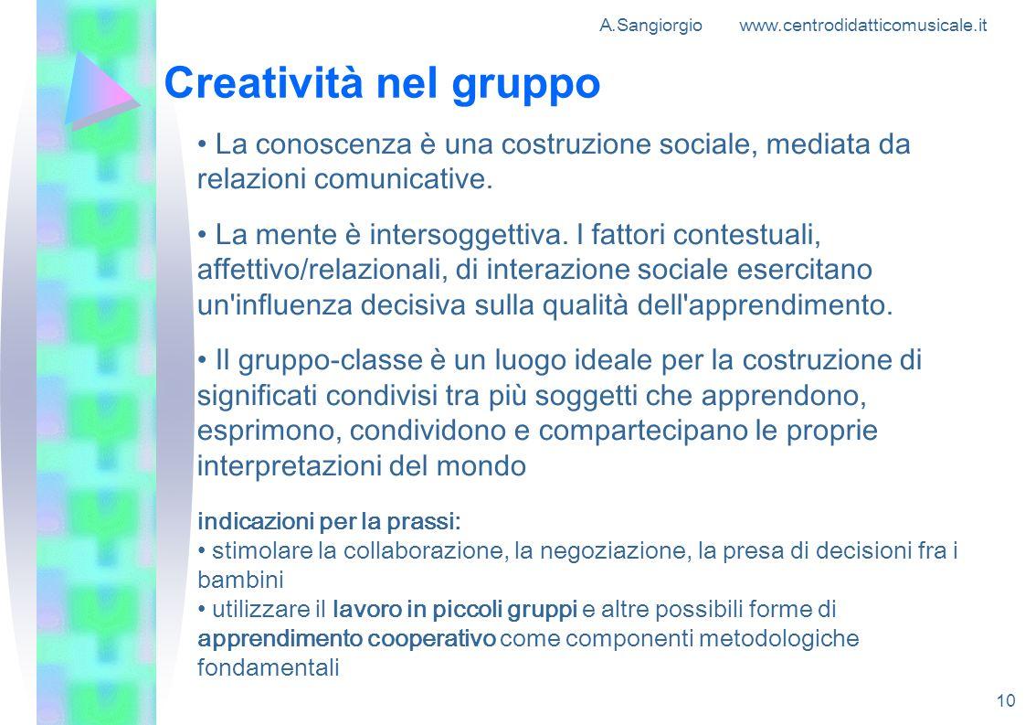 A.Sangiorgio www.centrodidatticomusicale.it 10 Creatività nel gruppo La conoscenza è una costruzione sociale, mediata da relazioni comunicative. La me