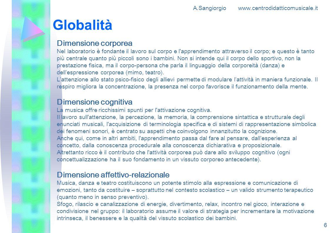 A.Sangiorgio www.centrodidatticomusicale.it 6 Globalità Dimensione corporea Nel laboratorio è fondante il lavoro sul corpo e l'apprendimento attravers