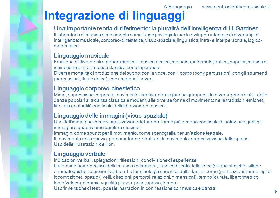 A.Sangiorgio www.centrodidatticomusicale.it 8 Integrazione di linguaggi Una importante teoria di riferimento: la pluralità dellintelligenza di H.Gardn