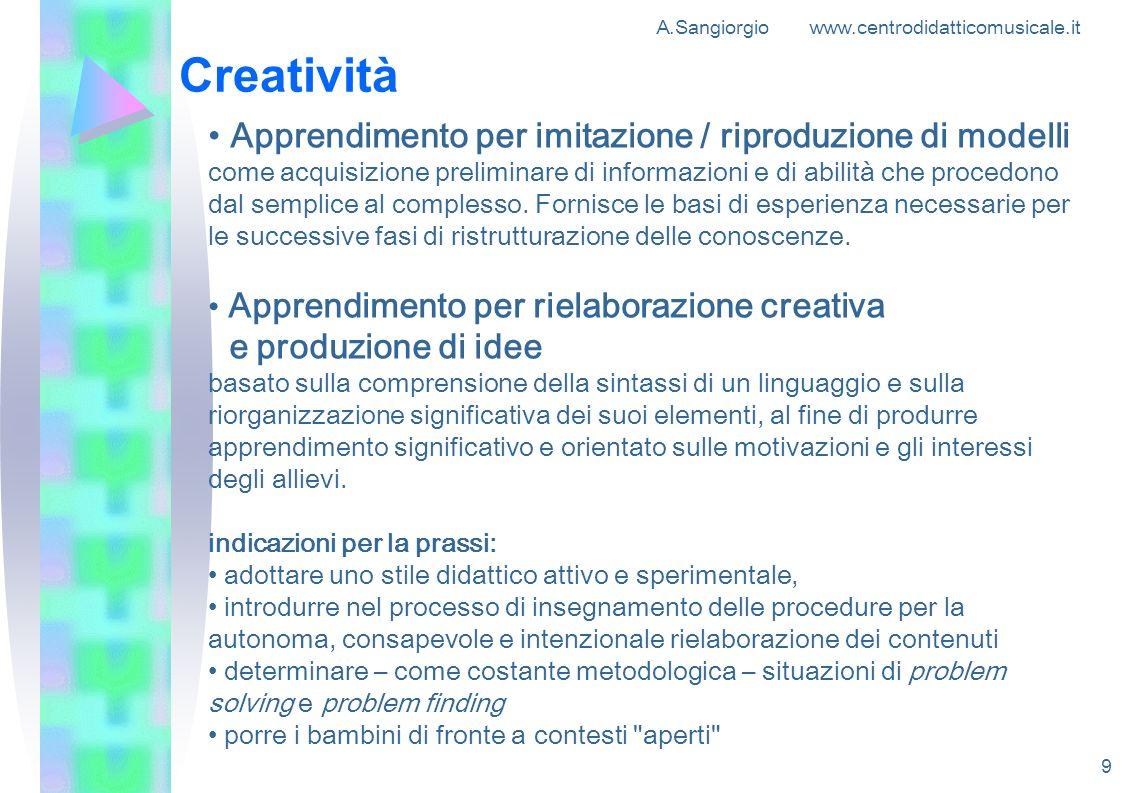 A.Sangiorgio www.centrodidatticomusicale.it 9 Creatività Apprendimento per imitazione / riproduzione di modelli come acquisizione preliminare di infor