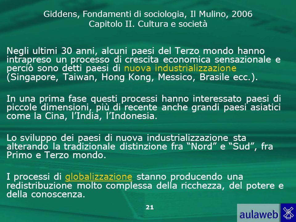 Giddens, Fondamenti di sociologia, Il Mulino, 2006 Capitolo II. Cultura e società 21 Negli ultimi 30 anni, alcuni paesi del Terzo mondo hanno intrapre