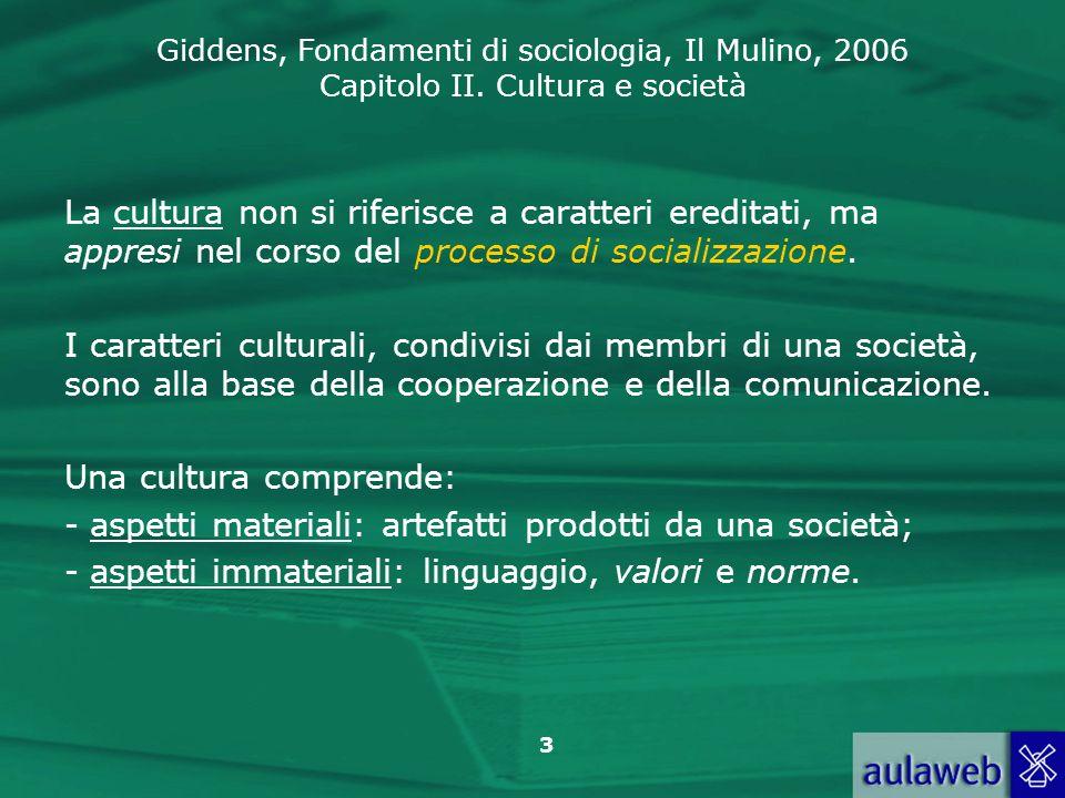 Giddens, Fondamenti di sociologia, Il Mulino, 2006 Capitolo II. Cultura e società 3 La cultura non si riferisce a caratteri ereditati, ma appresi nel