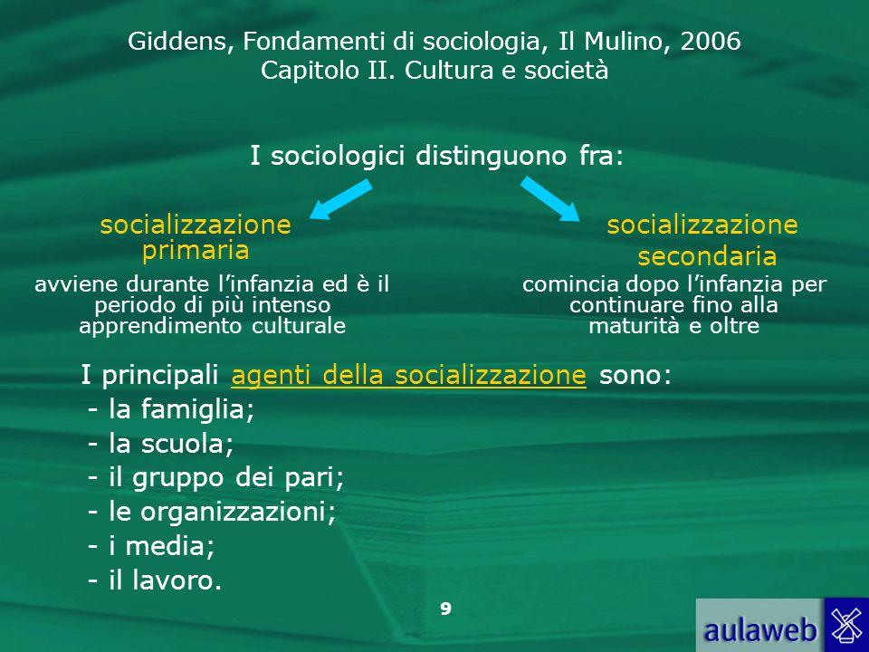 Giddens, Fondamenti di sociologia, Il Mulino, 2006 Capitolo II. Cultura e società 9 I sociologici distinguono fra: socializzazione primaria socializza