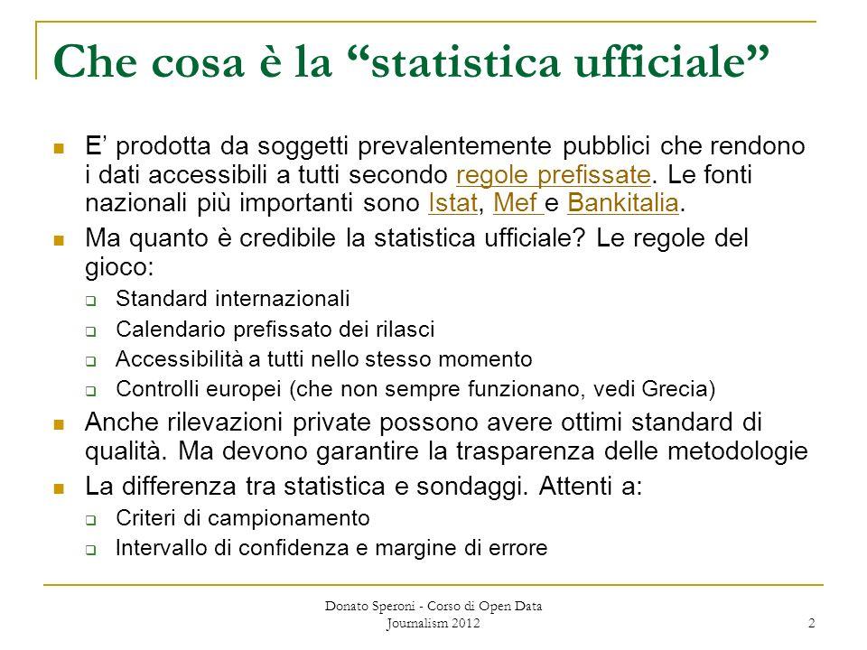 Che cosa è la statistica ufficiale E prodotta da soggetti prevalentemente pubblici che rendono i dati accessibili a tutti secondo regole prefissate. L