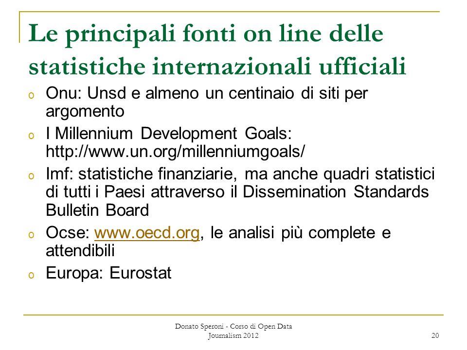 Donato Speroni - Corso di Open Data Journalism 2012 20 Le principali fonti on line delle statistiche internazionali ufficiali o Onu: Unsd e almeno un