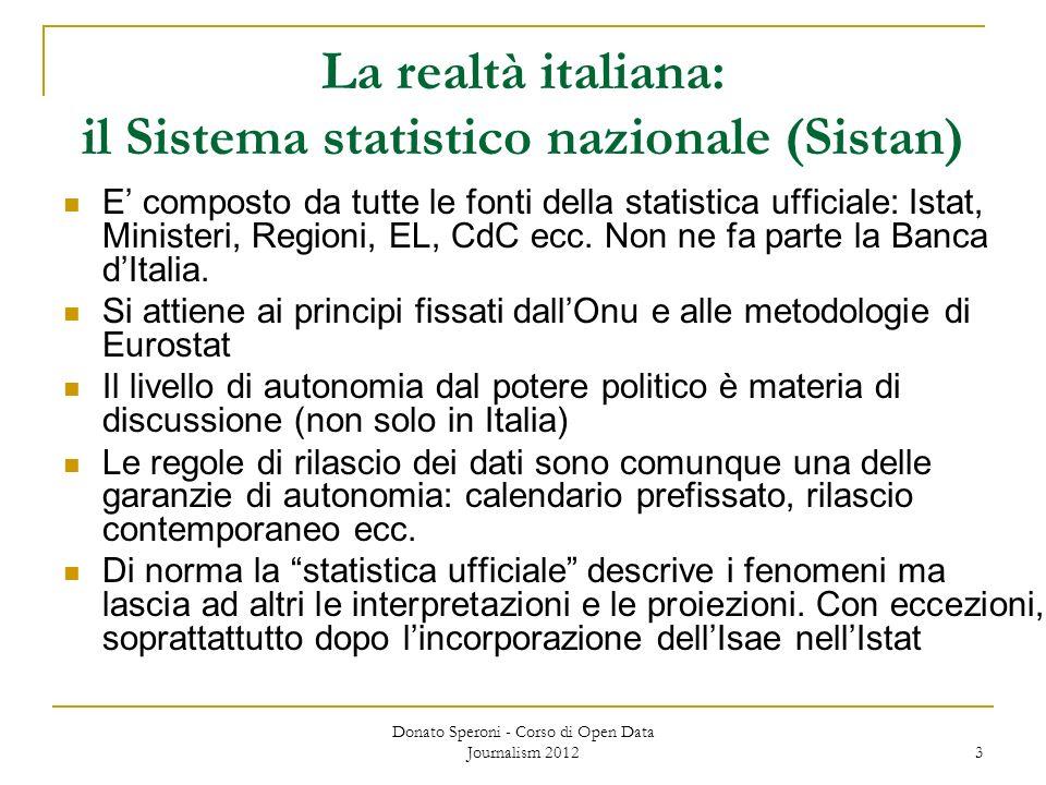 3 La realtà italiana: il Sistema statistico nazionale (Sistan) E composto da tutte le fonti della statistica ufficiale: Istat, Ministeri, Regioni, EL, CdC ecc.