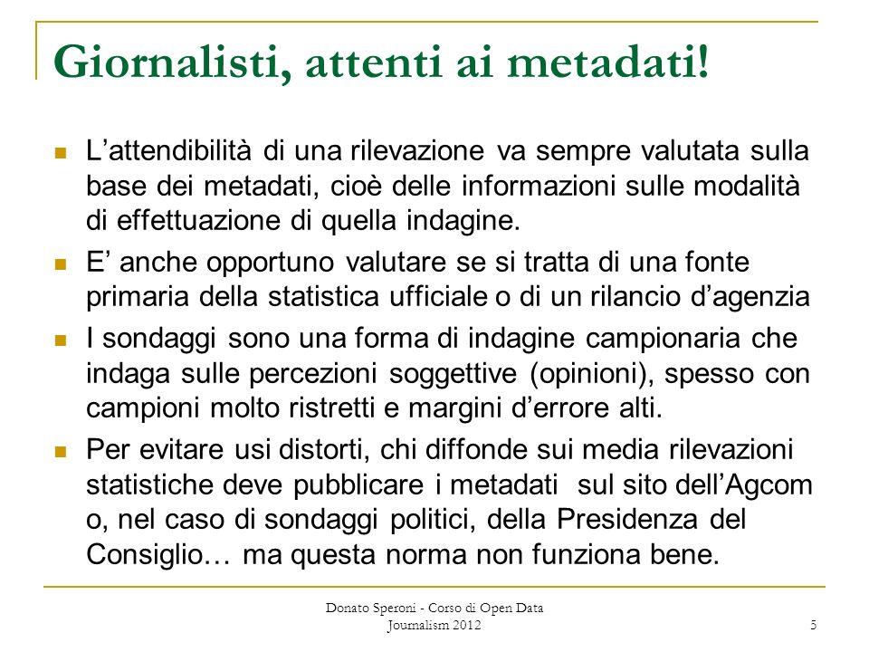 Giornalisti, attenti ai metadati! Lattendibilità di una rilevazione va sempre valutata sulla base dei metadati, cioè delle informazioni sulle modalità