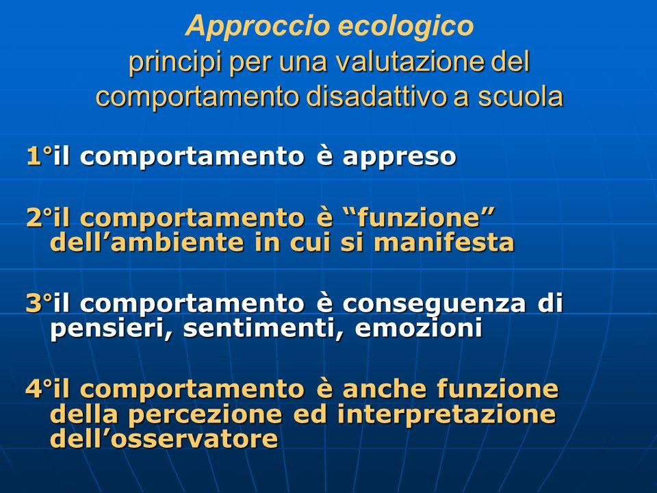principi per una valutazione del comportamento disadattivo a scuola Approccio ecologico principi per una valutazione del comportamento disadattivo a s