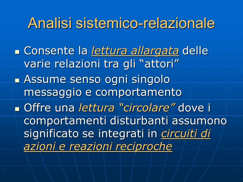 Analisi sistemico-relazionale Consente la lettura allargata delle varie relazioni tra gli attori Consente la lettura allargata delle varie relazioni t
