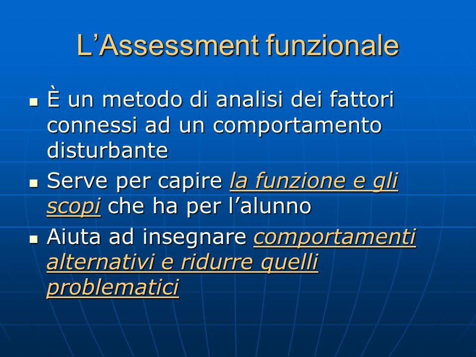 LAssessment funzionale È un metodo di analisi dei fattori connessi ad un comportamento disturbante È un metodo di analisi dei fattori connessi ad un c