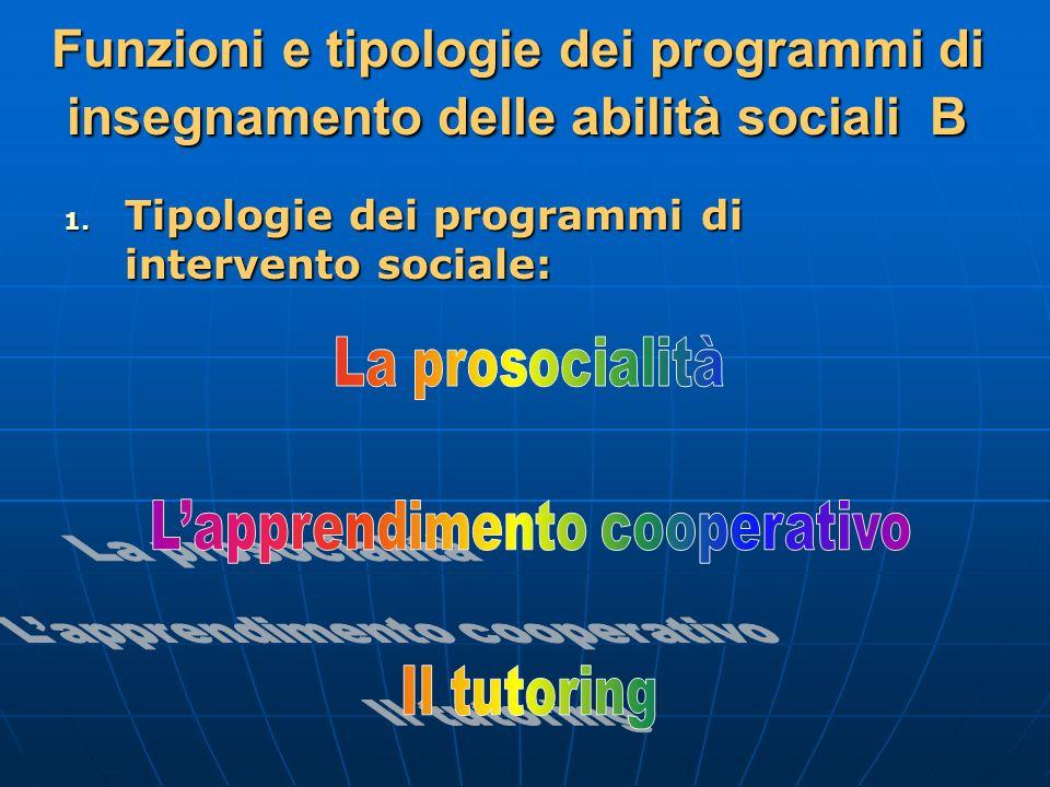 Funzioni e tipologie dei programmi di insegnamento delle abilità sociali B 1. Tipologie dei programmi di intervento sociale:
