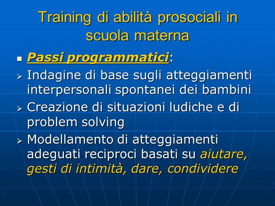Training di abilità prosociali in scuola materna Passi programmatici: Passi programmatici: Indagine di base sugli atteggiamenti interpersonali spontan