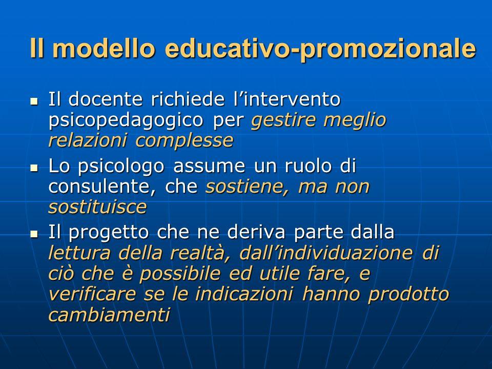Il modello educativo-promozionale Il docente richiede lintervento psicopedagogico per gestire meglio relazioni complesse Il docente richiede linterven