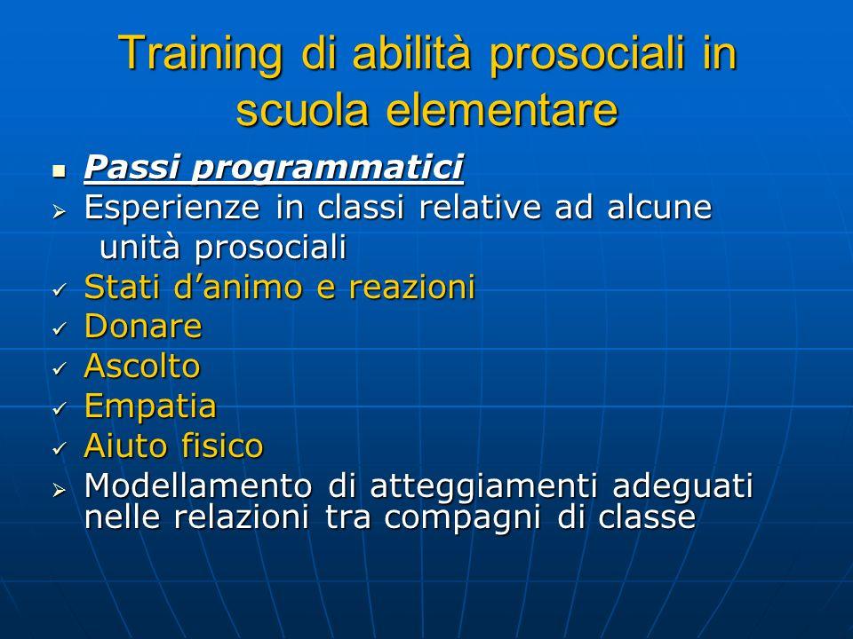 Training di abilità prosociali in scuola elementare Passi programmatici Passi programmatici Esperienze in classi relative ad alcune Esperienze in clas