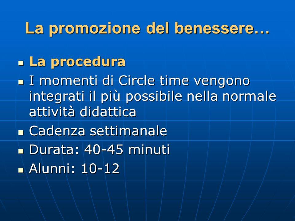 La promozione del benessere… La procedura La procedura I momenti di Circle time vengono integrati il più possibile nella normale attività didattica I