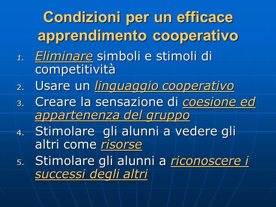 Condizioni per un efficace apprendimento cooperativo 1. Eliminare simboli e stimoli di competitività 2. Usare un linguaggio cooperativo 3. Creare la s