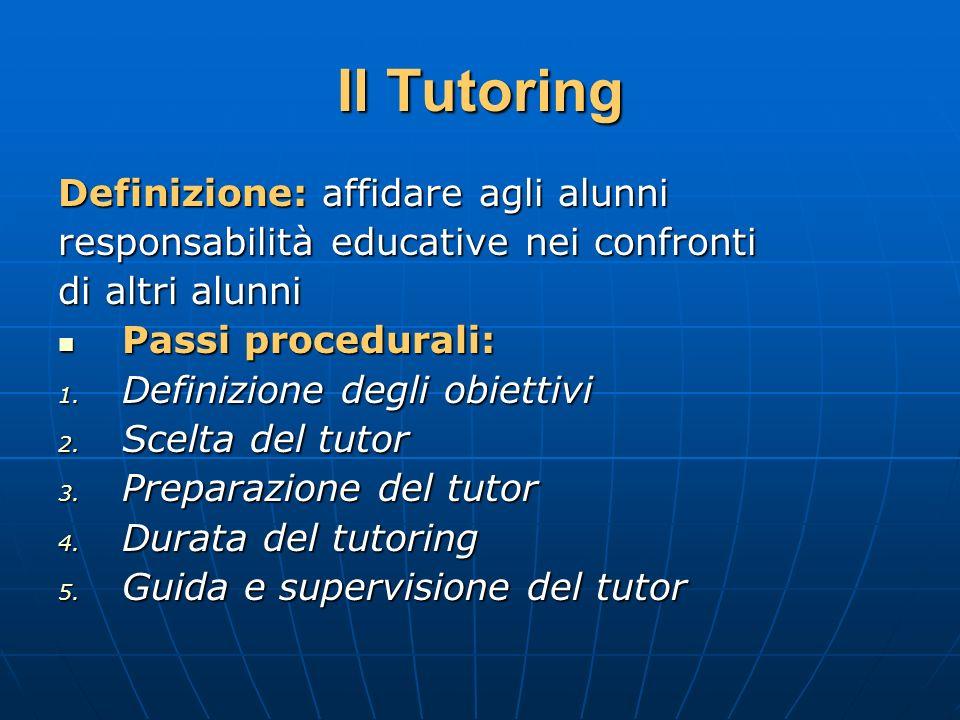 Il Tutoring Definizione: affidare agli alunni responsabilità educative nei confronti di altri alunni Passi procedurali: Passi procedurali: 1. Definizi