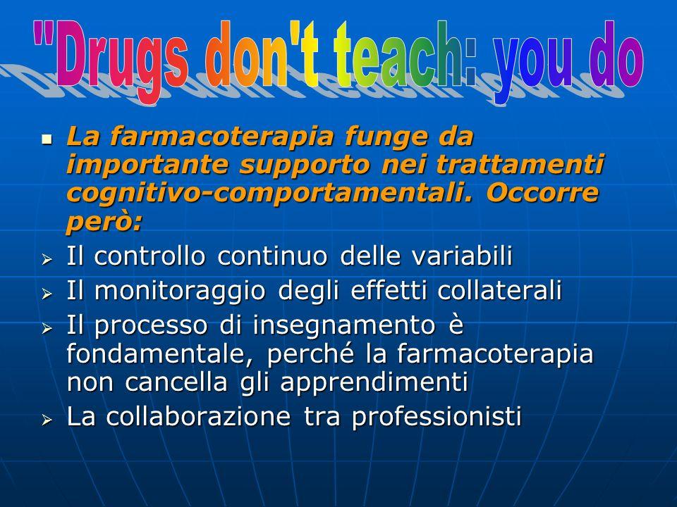 La farmacoterapia funge da importante supporto nei trattamenti cognitivo-comportamentali. Occorre però: La farmacoterapia funge da importante supporto