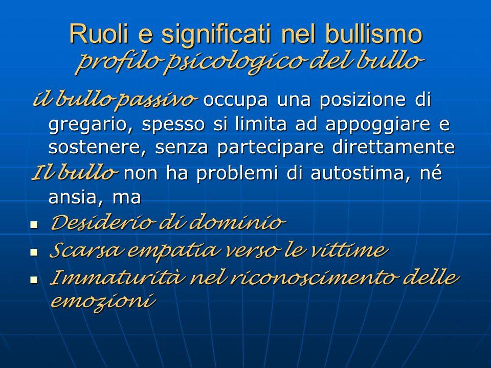 Ruoli e significati nel bullismo profilo psicologico del bullo il bullo passivo occupa una posizione di gregario, spesso si limita ad appoggiare e sos