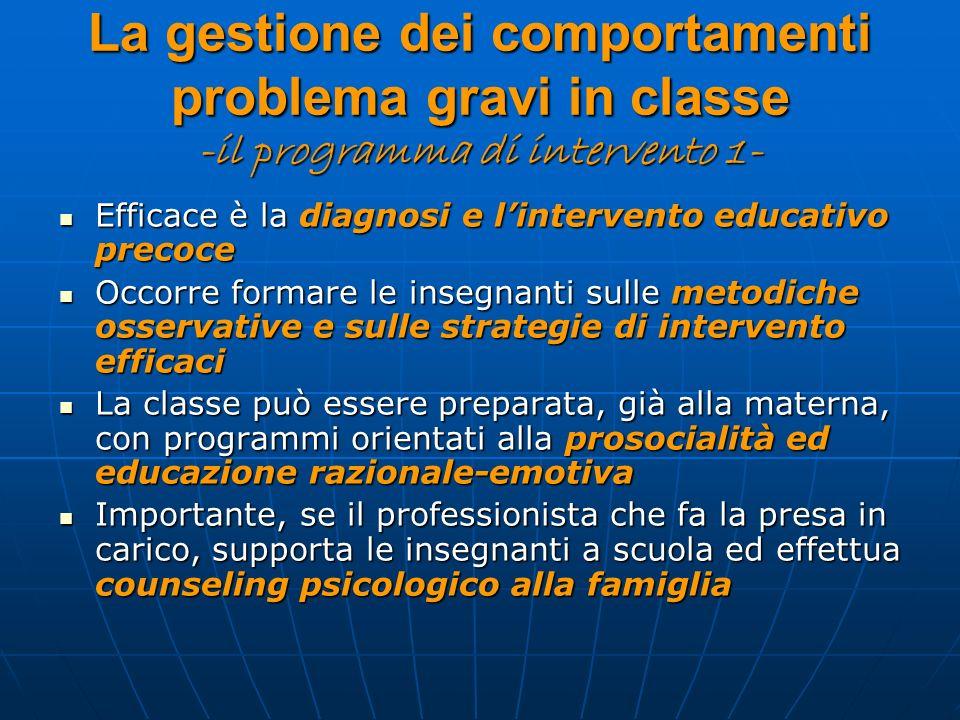 La gestione dei comportamenti problema gravi in classe -il programma di intervento 1- Efficace è la diagnosi e lintervento educativo precoce Efficace