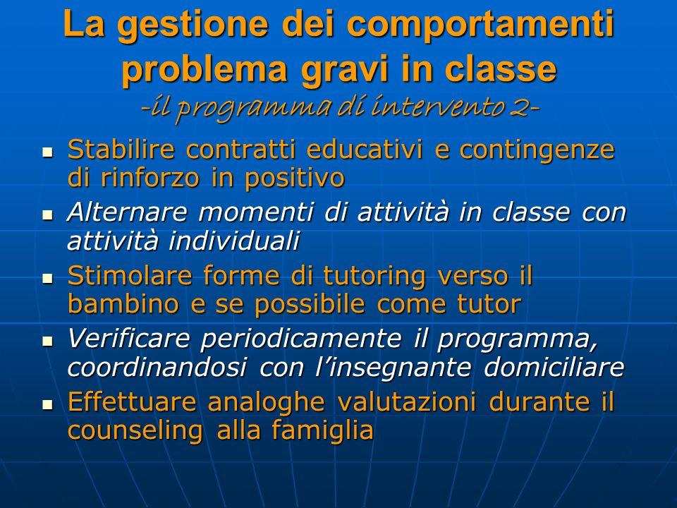 La gestione dei comportamenti problema gravi in classe -il programma di intervento 2- Stabilire contratti educativi e contingenze di rinforzo in posit
