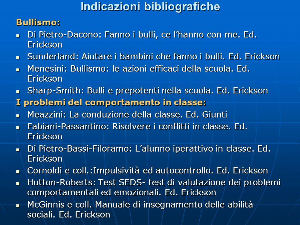 Indicazioni bibliografiche Bullismo: Di Pietro-Dacono: Fanno i bulli, ce lhanno con me. Ed. Erickson Di Pietro-Dacono: Fanno i bulli, ce lhanno con me