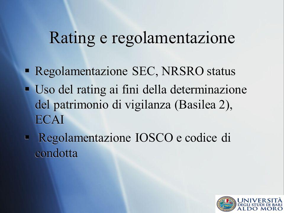 Rating e regolamentazione Regolamentazione SEC, NRSRO status Uso del rating ai fini della determinazione del patrimonio di vigilanza (Basilea 2), ECAI