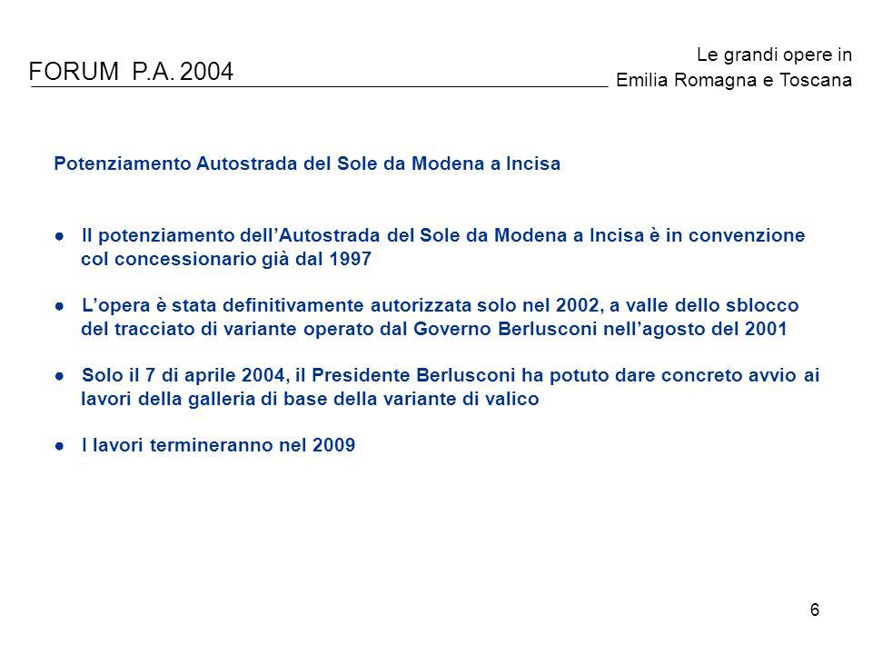 6 FORUM P.A. 2004 Le grandi opere in Emilia Romagna e Toscana Potenziamento Autostrada del Sole da Modena a Incisa Il potenziamento dellAutostrada del