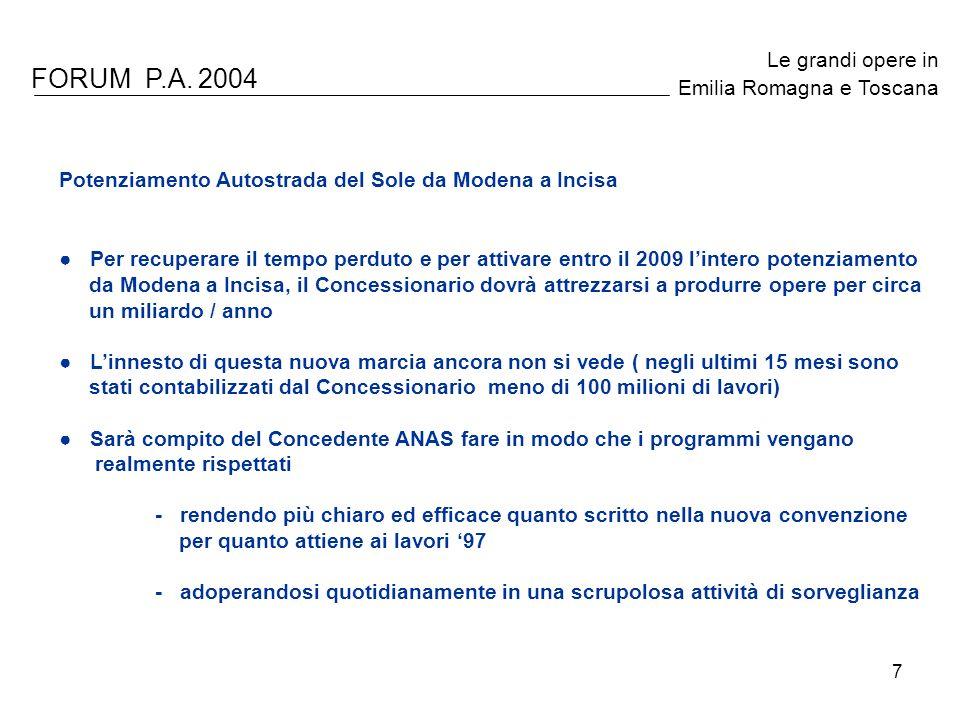 7 FORUM P.A. 2004 Le grandi opere in Emilia Romagna e Toscana Potenziamento Autostrada del Sole da Modena a Incisa Per recuperare il tempo perduto e p