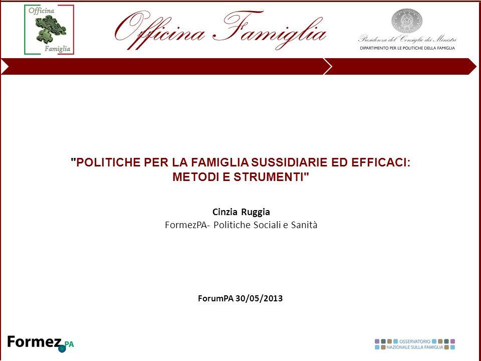 POLITICHE PER LA FAMIGLIA SUSSIDIARIE ED EFFICACI: METODI E STRUMENTI ForumPA 30/05/2013 Cinzia Ruggia FormezPA- Politiche Sociali e Sanità