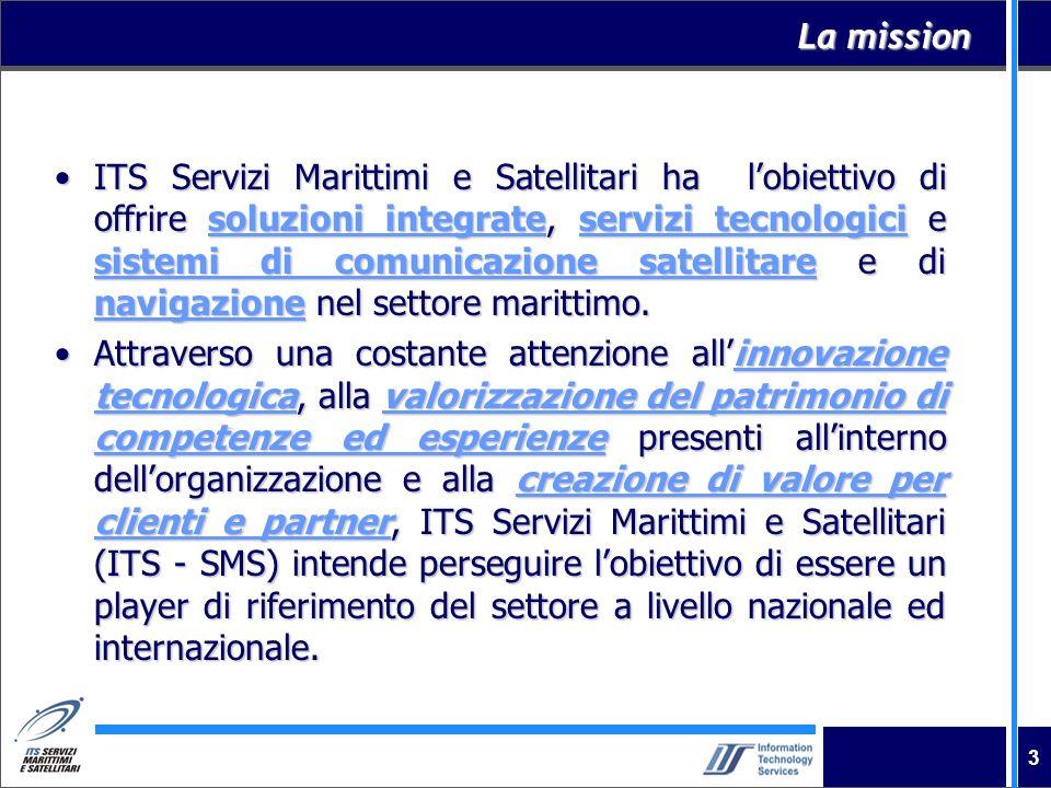 3 La mission ITS Servizi Marittimi e Satellitari ha lobiettivo di offrire soluzioni integrate, servizi tecnologici e sistemi di comunicazione satellit