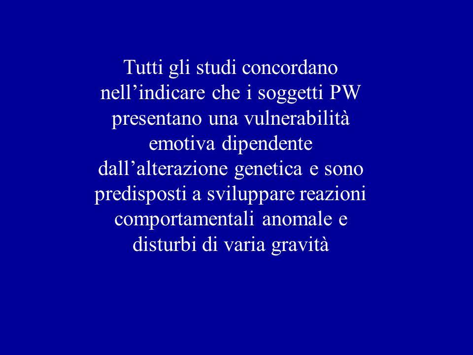 Tutti gli studi concordano nellindicare che i soggetti PW presentano una vulnerabilità emotiva dipendente dallalterazione genetica e sono predisposti