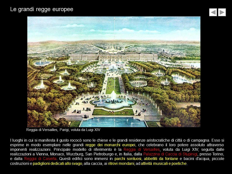 Reggia di Versailles, Parigi, voluta da Luigi XIV I luoghi in cui si manifesta il gusto rococò sono le chiese e le grandi residenze aristocratiche di