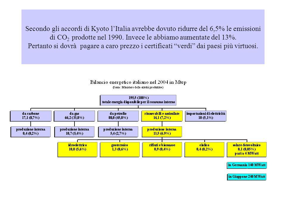 Secondo gli accordi di Kyoto lItalia avrebbe dovuto ridurre del 6,5% le emissioni di CO 2 prodotte nel 1990.