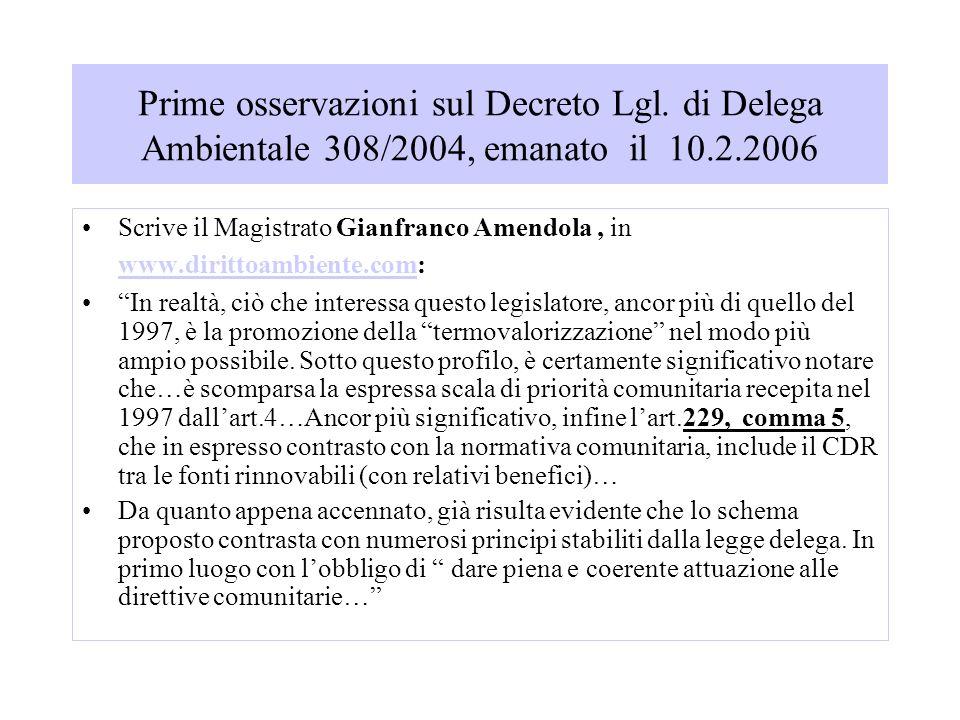Prime osservazioni sul Decreto Lgl.