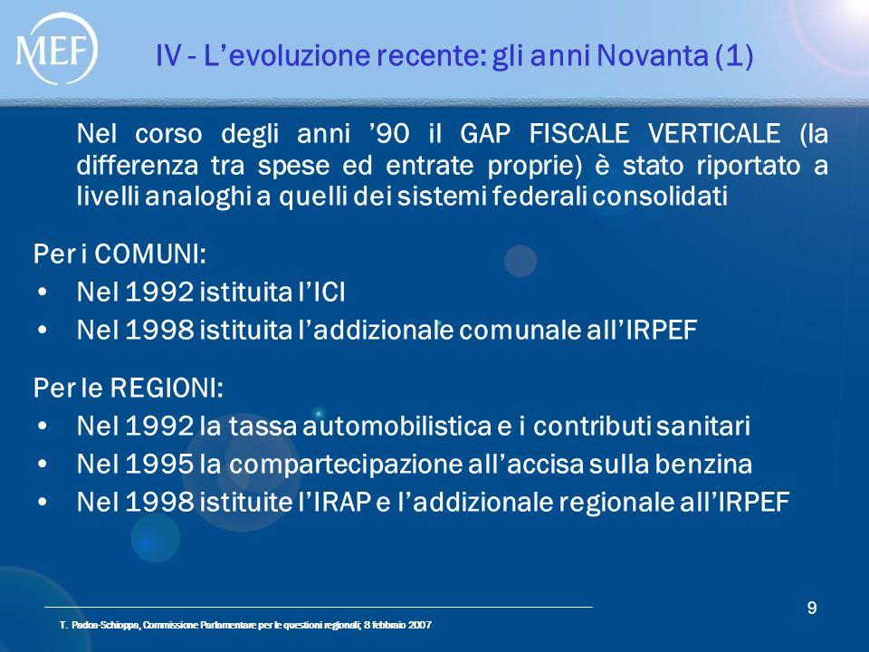 T. Padoa-Schioppa, Commissione Parlamentare per le questioni regionali; 8 febbraio 2007 9 IV - Levoluzione recente: gli anni Novanta (1) Nel corso deg