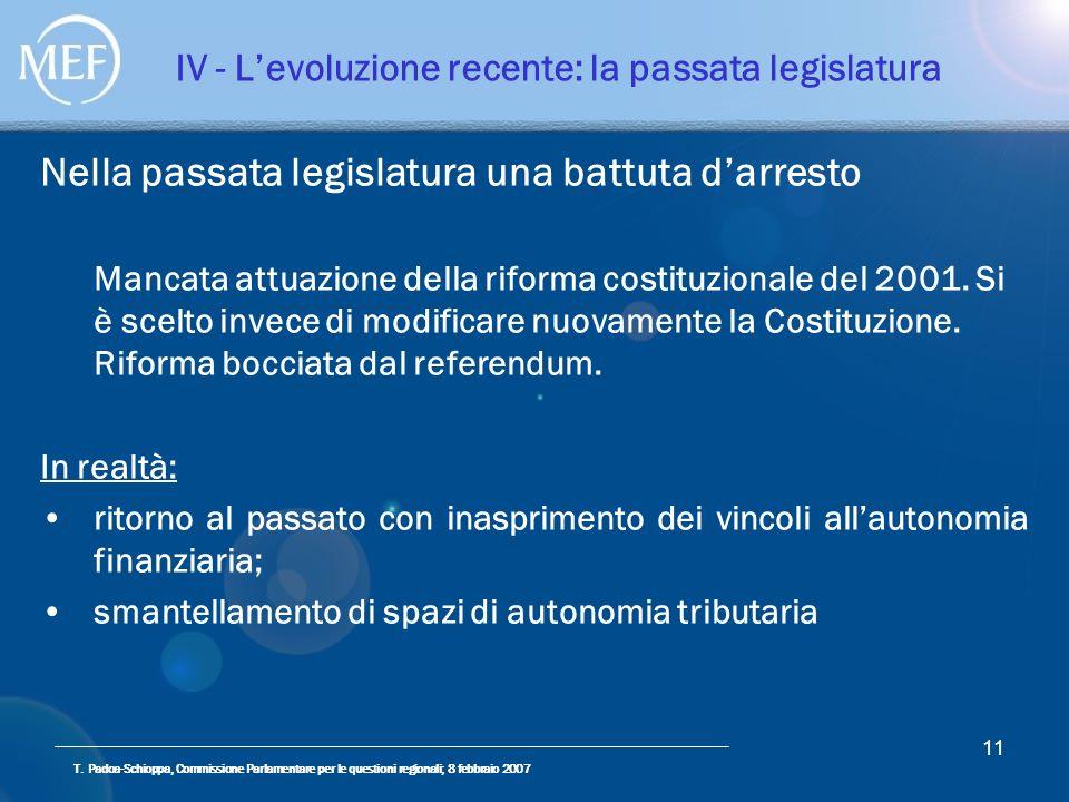 T. Padoa-Schioppa, Commissione Parlamentare per le questioni regionali; 8 febbraio 2007 11 IV - Levoluzione recente: la passata legislatura Nella pass