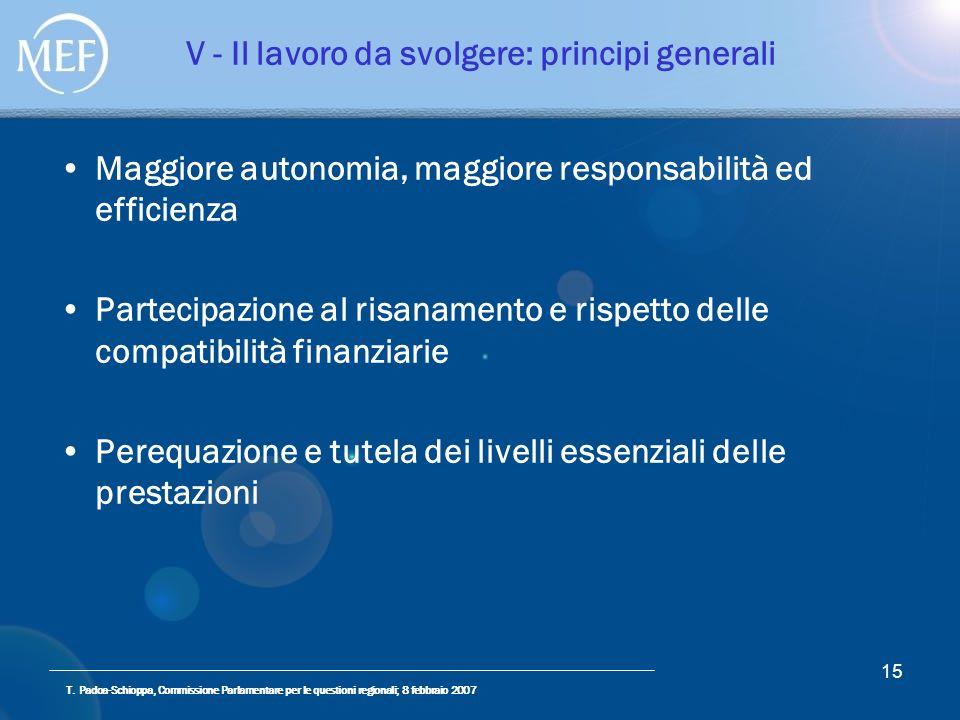 T. Padoa-Schioppa, Commissione Parlamentare per le questioni regionali; 8 febbraio 2007 15 V - Il lavoro da svolgere: principi generali Maggiore auton