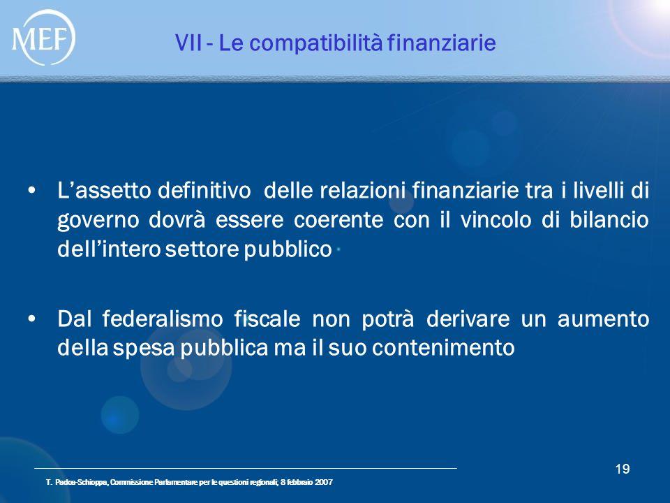 T. Padoa-Schioppa, Commissione Parlamentare per le questioni regionali; 8 febbraio 2007 19 VII - Le compatibilità finanziarie Lassetto definitivo dell