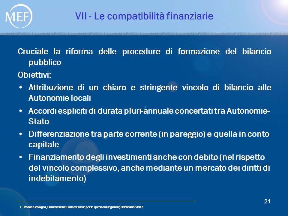 T. Padoa-Schioppa, Commissione Parlamentare per le questioni regionali; 8 febbraio 2007 21 VII - Le compatibilità finanziarie Cruciale la riforma dell