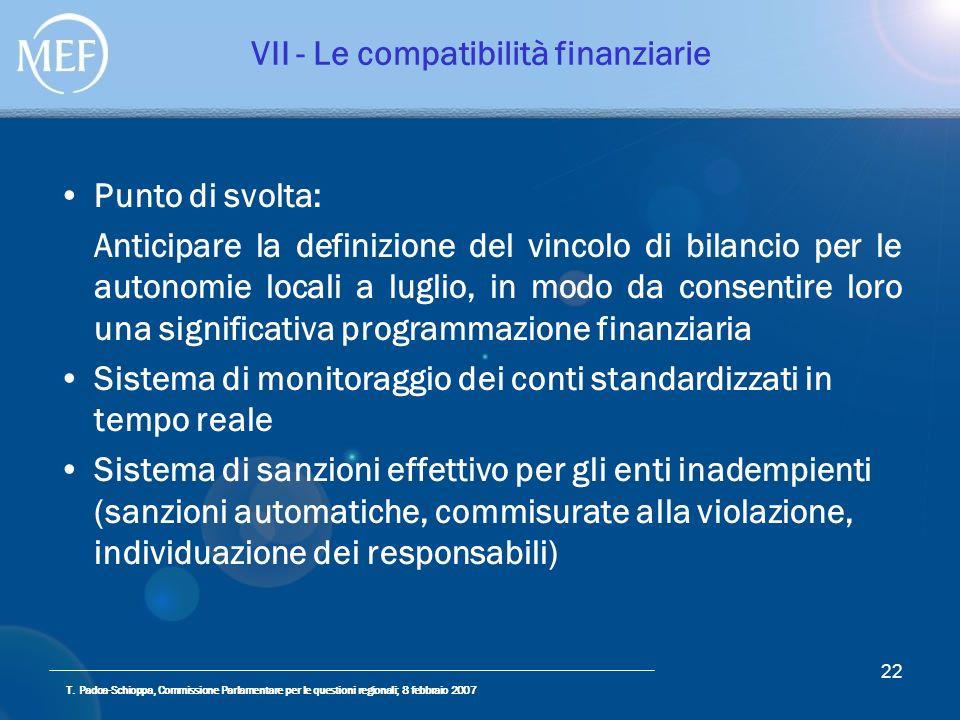 T. Padoa-Schioppa, Commissione Parlamentare per le questioni regionali; 8 febbraio 2007 22 VII - Le compatibilità finanziarie Punto di svolta: Anticip