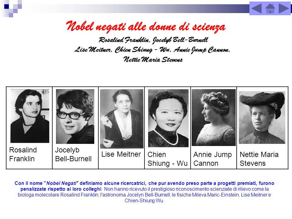 Nobel negati alle donne di scienza Rosalind Franklin Jocelyb Bell-Burnell Lise MeitnerChien Shiung - Wu Annie Jump Cannon Nettie Maria Stevens Con il
