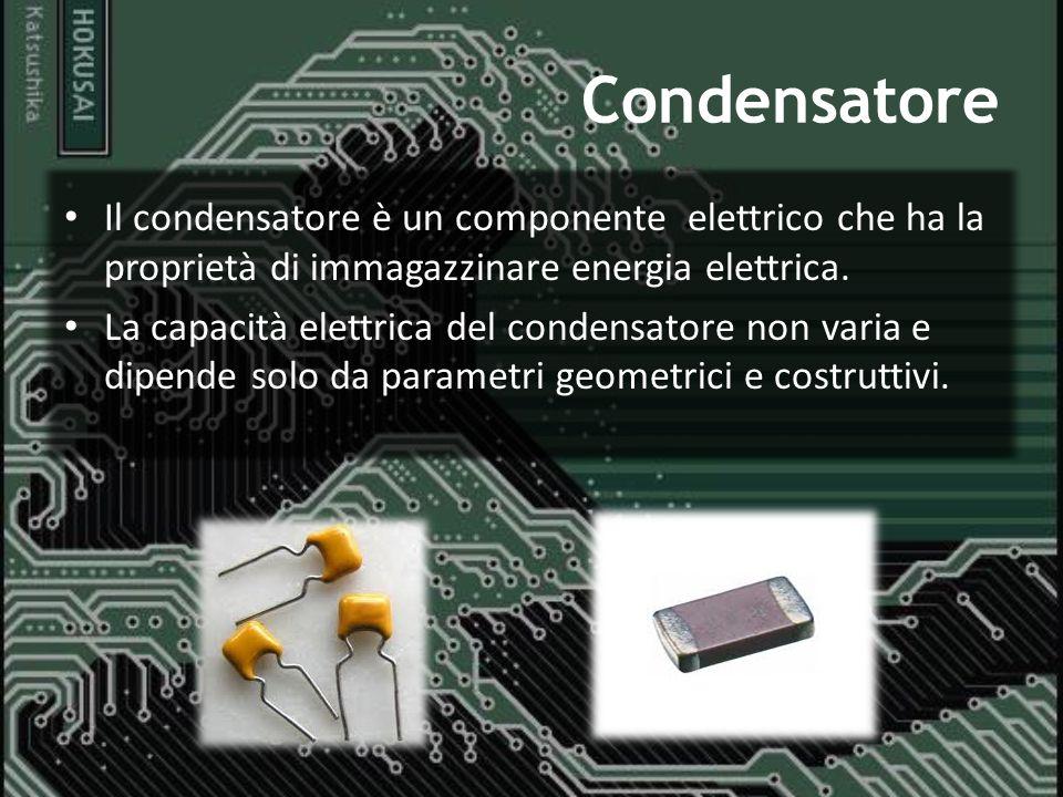 Condensatore Il condensatore è un componente elettrico che ha la proprietà di immagazzinare energia elettrica. La capacità elettrica del condensatore