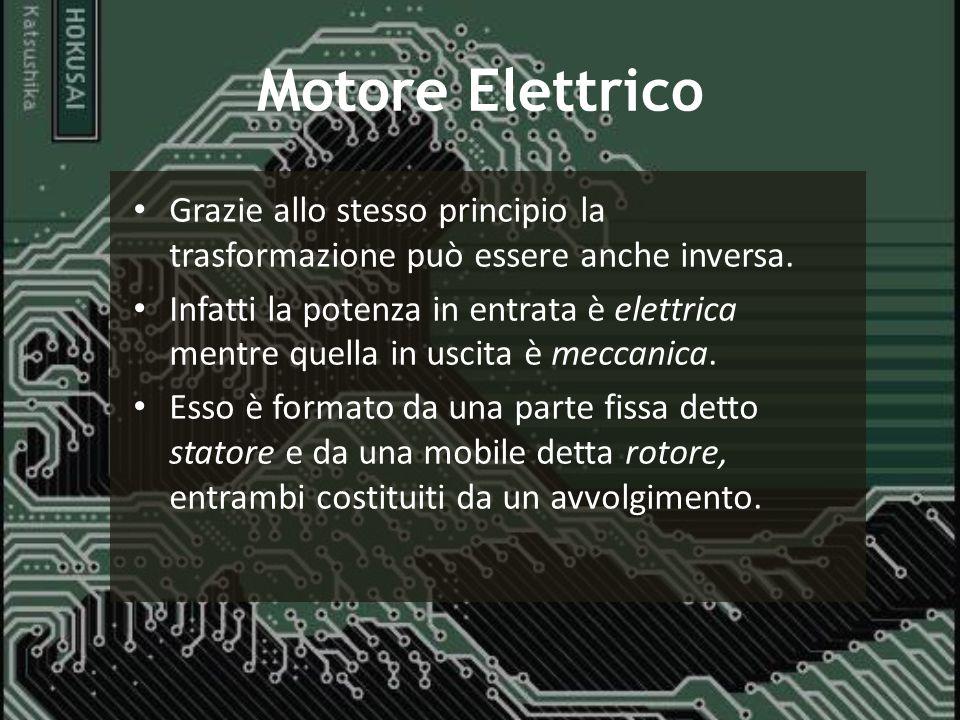 Motore Elettrico Grazie allo stesso principio la trasformazione può essere anche inversa. Infatti la potenza in entrata è elettrica mentre quella in u